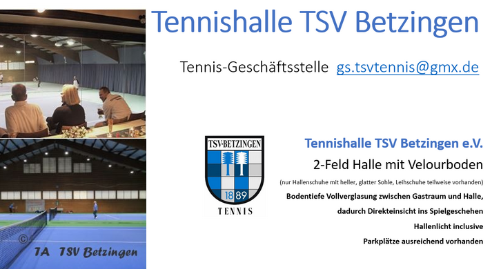 TSV Betzingen Tennishalle – buche jetzt dein Winterabonnement 2021/2022