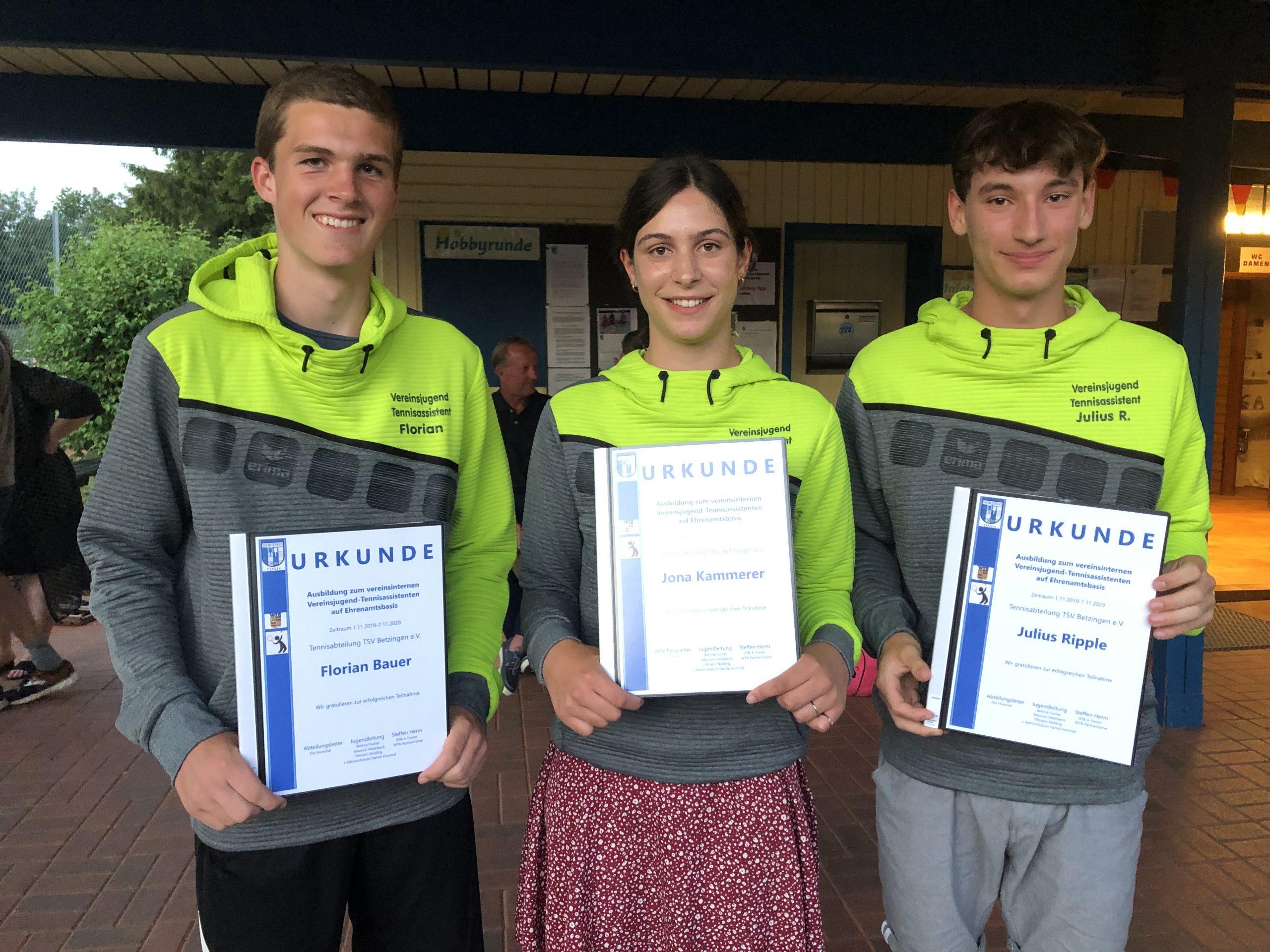 TSV Betzingen Tennis bildet sellst aus, Tennis in Reutlingen
